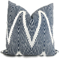 Indigo Blue Ikat Chevron Decorative Pillow Cover, 18x18, 20x20, 22x22, Euro sham or lumbar pillow Throw Pillow, Accent Pillow, Toss Pillow
