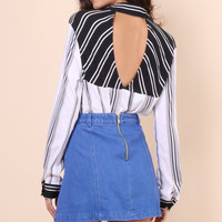 Kendall + Kylie Stripe Cutout Back Blouse