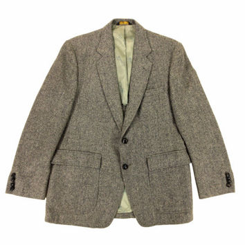 Vintage Grey Tweed Sport Coat - Jacket Blazer Wool Herringbone Black White Ivy League Menswear - Men's Size 42 Large Lrg L