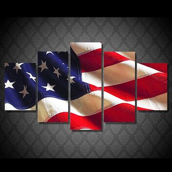Patriotic American Flag 5-Piece Wall Art Canvas