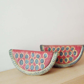 Ceramic watermelon wedge, stoneware high fire sculpture with fired gold,  Greek pottery art oblject