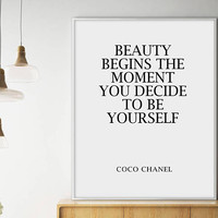 Sale!!! Coco Chanel Quote, Fashion Wall Art, Chanel, Coco Chanel Poster, Printable Quote, Be yourself, Beauty Poster, Chanel Print