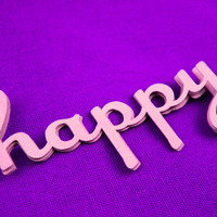 "Paper Word ""happy"" -- Cut Out Scrapbooking Material -- Product Tags -- Homemade Paper Goods -- Custom Sizes, Shapes and Colors Available"