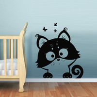 Wall decal decor decals art cat family funny cartoon raccoon butterfly baby gift nursery (m647)