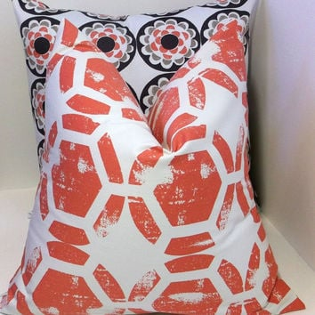 Sofa pillow in spice orange on ivory, modern geometric pillow cover, decorative throw pillow