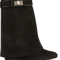 Givenchy - Shark Lock black suede wedge ankle boots