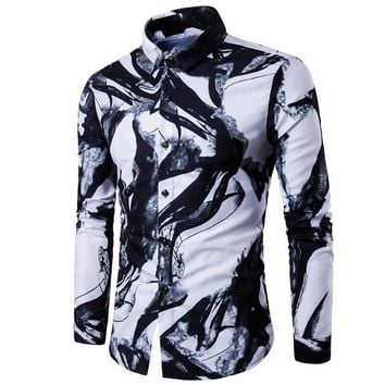 Dropshopping Men Shirts Luxury Brand Long Sleeve Tops 2019 Fashion Ink Printed Slim fit Casual Shirts China Style Men's Clothing