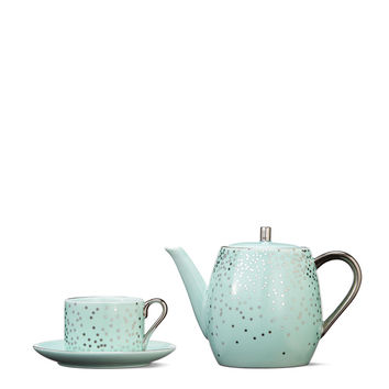 Mint Green Glitter Drop Tea Set