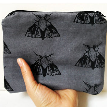 Moth Print Zip Purse