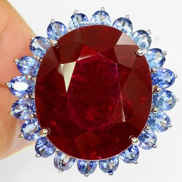 A Perfect Natural Vintage 52CT Oval Cut Blood Red Ruby Ring Tanzanite Halo