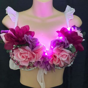 Designer LED light up pink flower Nymph Rave Bra 34c  Clubwear EDC Party
