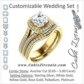 CZ Wedding Set, featuring The Mia Sofia engagement ring (Customizable Cathedral-Halo Asscher Cut Style with Wide Split-Pavé Band)