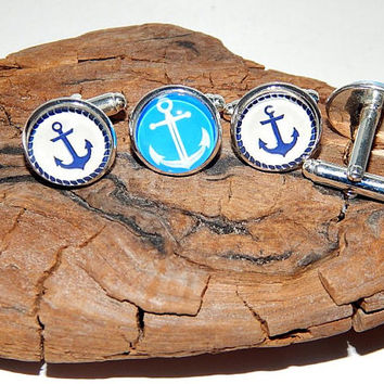 Anchor Cufflinks, Nautical Cuff Links, Cufflinks for men, Anchor jewerly, Handmade Cufflinks, sea  Cufflinks, wedding cufflinks
