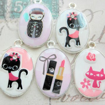 Choice of Resin Domed Pendants  - Pink or Black Cats, Lipstick or Russian Doll