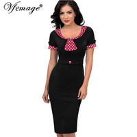 Vfemage Womens Elegant Vintage Pinup Retro Rockabilly Wear to Work Party Evening Formal Stretch Bodycon Dress 4182