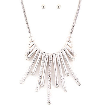 silver sunburst necklace and earring set