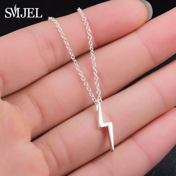 SMJEL Cute Delicate Lightning Bolt Charm Pendant Necklace Thunder Strike Necklaces Gift for Friend Accessories Punk Jewelry N300