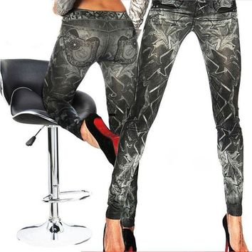 DCCKH6B 2016 New Arrival Sexy Slim Leggings  Bandage Skinny Womens False Jeans Stretchy Jeggings Floral Pencil Trousers One Size