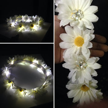 LED Flower Crown   With MEDIUM flowers all the way around    Light Up Headband for edm EDC raves / music festivals