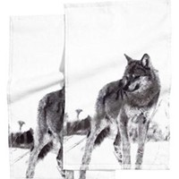 Wolf Print Guest Towels - 12-in x 20-in - Set of 2