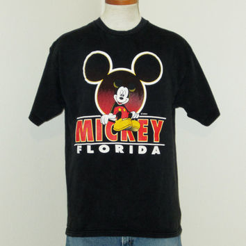 Vintage 80s MICKEY MOUSE FLORIDA Black Disney Epic Retro Graphic Medium Large Cotton T-Shirt