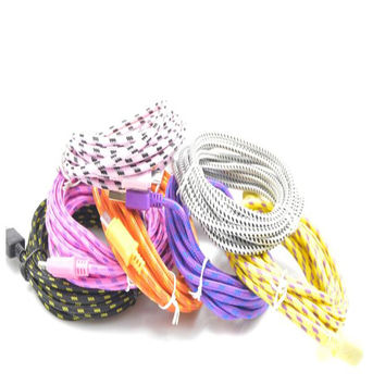 1 m quick charge USB cable woven round fabric weaving 8 pin data sync charger cable Iphone 5 6 6 + 5 s