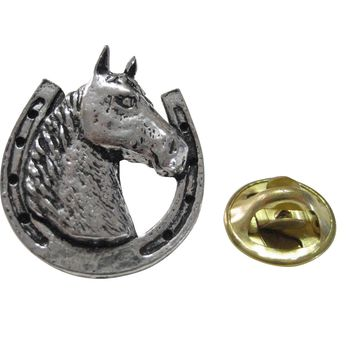 Horse and Horse Shoe Lapel Pin