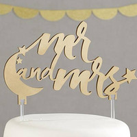 Gold Stars Moon Mr. and Mrs. Gold Wedding Cake Topper Cake Pick Elegant Script Reception Decoration MW35471