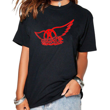 Aerosmith T-shirt women Fashion Casual Rock Band fans o-neck t-shirts Women Cotton Rock Roll T-shirts Short Sleeve Tops & Tees