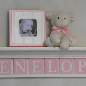 "Baby Girl Name Sign Nursery Decor 30"" Linen White Shelf with 8 Letter Wooden Blocks Painted Light Pink - Custom  for PENELOPE"
