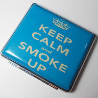 Keep Clam and Smoke UP  Cigarette Case Card Holder Wallet