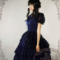 Chiffon Lover, Classic Lolita Empire Waist Basic Frilly JSK/Dress*5colors Instant Shipping