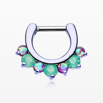 Colorline Opal Sparkle Deuce Septum Clicker Ring