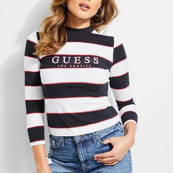GUESS Originals Striped Mock-Neck Top at Guess