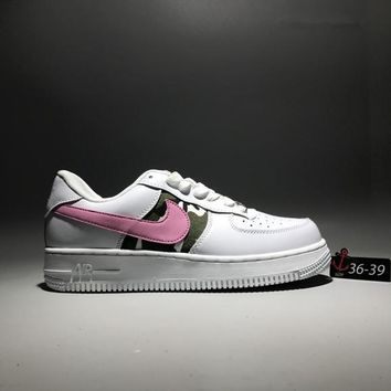 """Nike Air Force 1"" Casual Fashion Leather Camouflage Low Help Plate Shoes Women Thick Bottom Sneakers"