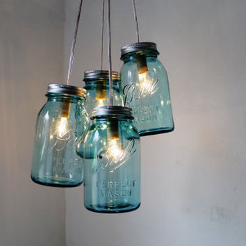 Antique Blue  Mason Jar Chandelier  4 blue quart jars by BootsNGus
