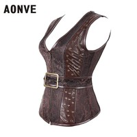 Brown Steampunk Corset Zipper Strap Goth Clothing Sexy Lingerie Slim Belt Jacquard PU Leather Steel Boned Corsets And Bustiers