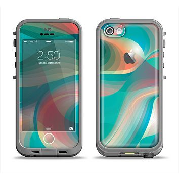 The Vivid Turquoise 3D Wave Pattern Apple iPhone 5c LifeProof Fre Case Skin Set