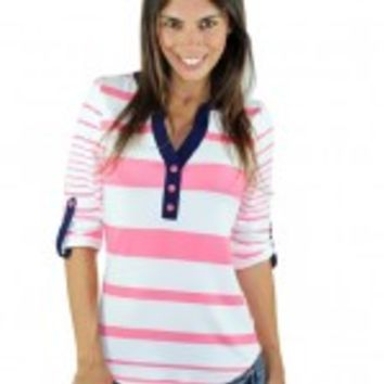 Pink And White V-Neck Striped Top