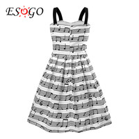 Free Shipping 2016 Summer New Women's Fashion Straps Sweet musical note Printing chiffon Tall Waist Princess party Dress evening