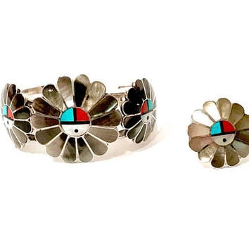 Zuni Sun Face Bracelet Set, Native American Sterling Silver, Inlaid Mother Of Pearl Turquoise Coral Onyx, Cuff Bracelet Ring Set, Vintage