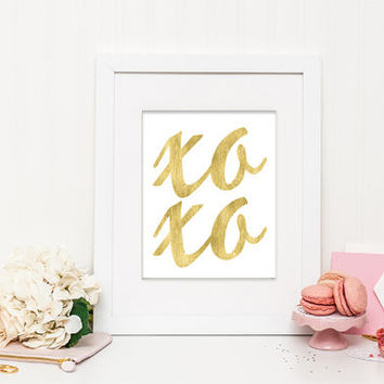 XOXO - Faux Gold Foil – Modern and Chic Printable Wall Art for Home or Office – Digital Download JPG