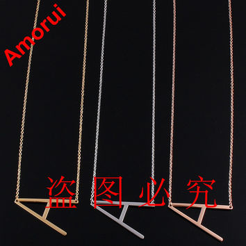 Rose Gold Silver Alfabet Letter Collar Choker Body Chain Necklace Women Arabic Jewelry Collier Alphabet Necklaces