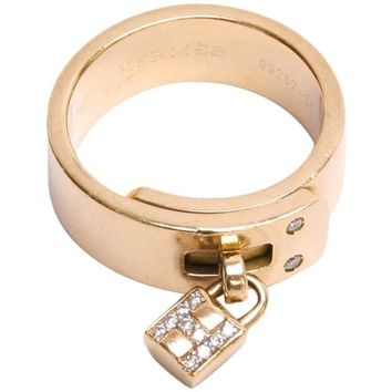 "HERMES ""Kelly"" Ring Size 56 in Yellow Gold and Diamonds"