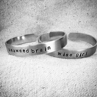 wise girl and seaweed brain: Hand Stamped SET of Aluminum Percy Jackson/Annabeth Chase Cuffs for percabeth shippers