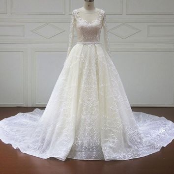 Long Sleeve Princess Wedding Dresses Illusion Appliques Beaded Lace Ball Gown Bridal Gown