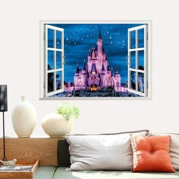 MDIGYN5 Super Deal  3D Fake Castle Wall Of Setting Of The Sitting Room The Bedroom Window Stickers XT