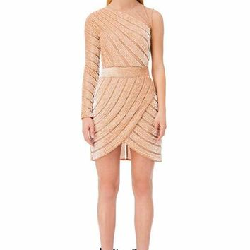 Jaya Gold Sequins One Shoulder Mini Dress