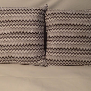 Decorative Pillow Cover Throw pillow Cover Single 18 x 18  Gray and White Chevron Modern