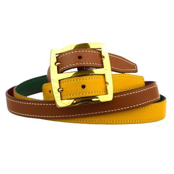 ULTRA RARE Authentic HERMES Reversible Buckle Double Belt Leather Vintage 69U237